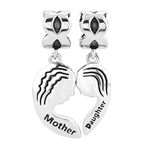 Q&Locket Matching Heart Irish Celtic Knot Charms Dangle Mother Daughter Charm Beads for Bracelets (Heart Love Mother Daughter)