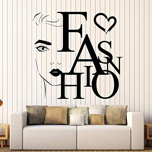 Schriftzug Wandtattoo Schönheit Mode Wort Mädchen Gesicht Salon Ankleidezimmer Dekoration Vinyl Fenster Aufkleber Schlafzimmer Größe:56 * 58CM