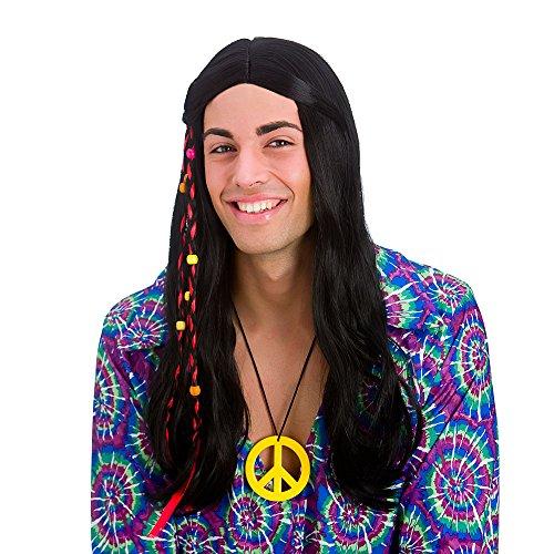 Perruque Adulte d'Hippie Noire