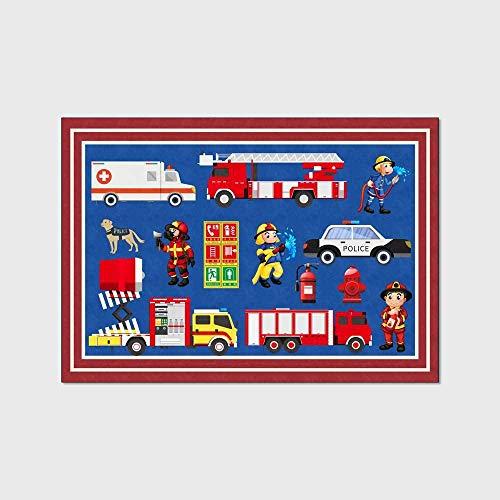 Alfombra Infantiles Grandes Tapete de Juego para Niños Camión de Bomberos de Dibujos Animados Lindo Azul Oscuro 160×200M
