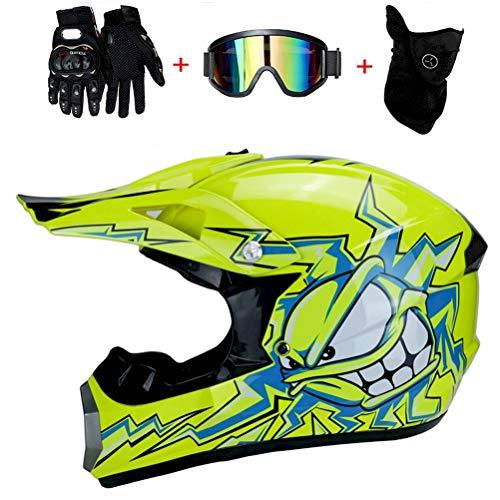 BMAQ Jaune Casque Moto-Cross, VTT Quatre Saisons Moto Hors Route Casque Hommes et Femmes VTT Casque intégral DH ATV Go Karting Descente Montagne Casque,S