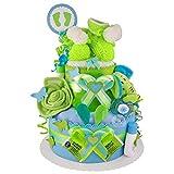 MomsStory – Tarta de pañales, regalo para nacimiento, bautismo, ducha de bebé de 2 pisos (azul/verde) regalo para bebé + personalizado con nombre