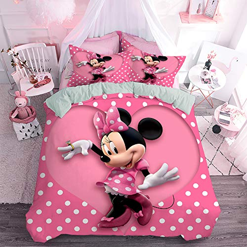 MKHUFCLE 3D Mickey Minnie Mouse Kids Duvet Cover Set Ultra Soft Double Brushed Microfiber Bedding...