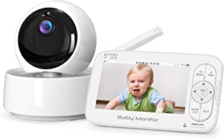 "Baby Monitor, Itomoro 5"" HD Display Video Baby Monitor with Camera and Audio, 720P Screen,2000mAh Rechargeable Battery, Two-Way Audio, Night Vision, Temperature Monitor, One-Click Zoom,900ft Range"