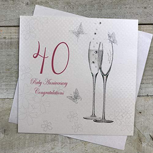 witte katoenen kaarten 40 Ruby Gefeliciteerd, Handgemaakte Anniversary Card (Champagne Fluiten)