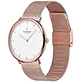Nordgreen Native Scandinavian Rose Gold Unisex Analog 36mm Watch with Rose Gold Mesh Strap 10058