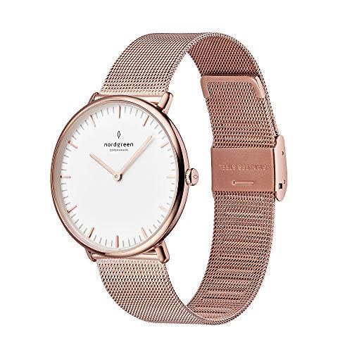 Nordgreen [ノードグリーン] 【Native】ユニセックスのローズゴールド 北欧 デザイン腕時計とホワイトダイヤル36mm ローズゴールドメッシュストラップ