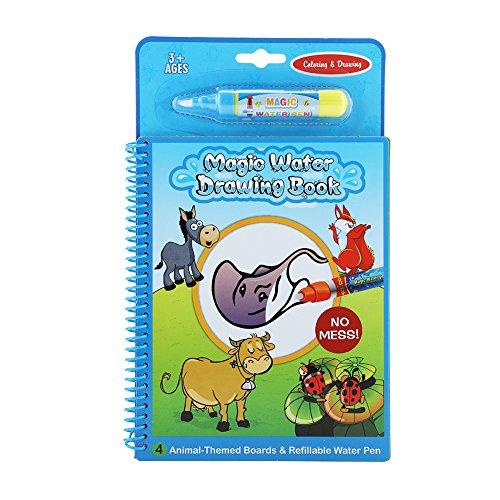 Fdit socialme-EU Libro da Disegno di Acqua Magica Riutilizzabile Libro di Vernice d' Acqua Libro da colorare per Bambini Animale