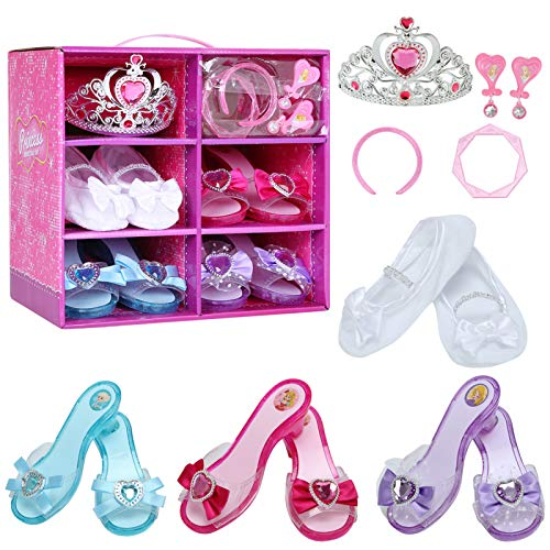 Cocojeci Girls Princess Dress up Shoes Role Play Collection Shoes Set with Pink Princess Tiara Earrings and Bracelets