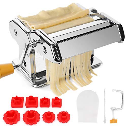 TAECOOOL Macchina per la pasta da cucina, professionale in acciaio inox, fatta a mano, per spaghetti, lasagne o gnocchi (macchina per tagliatelle + stampo)