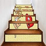 KONGWSM Escalera De Bricolaje Autoadhesivo Etiqueta Tridimensional Trece Piezas Escaleras Publicar Elementos Del Día De San Valentín Inicio Corredor Papel Pintado Decoración Pintura(100Cmx18Cmx13Pcs)