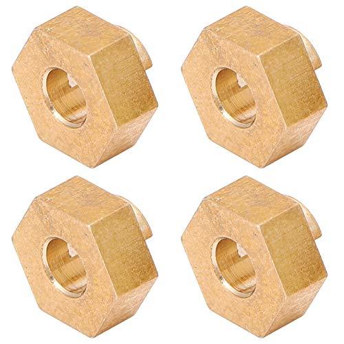 SALUTUYA Adaptador Hexagonal Ligero RC 3MM 1/24 Adaptador Hexagonal de Coche RC Adaptador Hexagonal de latón RC 4 Piezas para SCX24 90081 1/24 RC Coche Axial