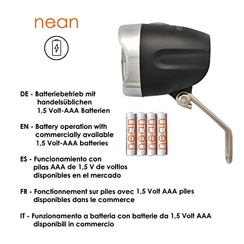 nean Fahrrad LED Frontleuchte Fahrradlampe Fahrradleuchte mit StVZO Zulassung inkl. Batterien, 40 Lux - 3