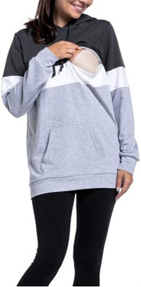 Nituyy Women Patchwork Zipper Nursing Hoodie Sweatshirt for Breastfeeding Maternity Nursing Tops Blouse