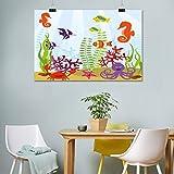 Lienzo para acuario, diseño de animales marinos tropicales de hábitat acuático con caballito de mar, pulpo de cangrejo para decoración de dormitorio, 50 cm de ancho x 60 cm de largo, multicolor