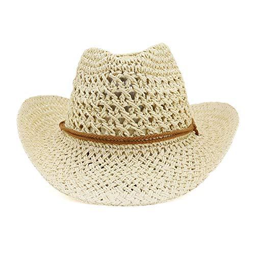 Azly-Caps Chapeaux normaux normaux unisexaux de Paille, Chapeaux formables de Bord/mentonnière pour Le Chapeau de Soleil de Plage d'été,Beige