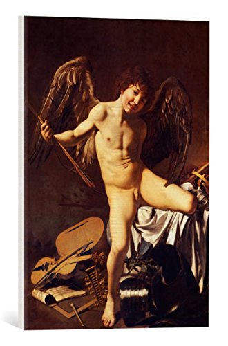 kunst für alle Canvas Print: Michelangelo Merisi da Caravaggio Amor as Victor Fine Art Print, Canvas on Stretcher, Ready to Hang Wall Picture, 15.7x21.7 inch / 40x55 cm