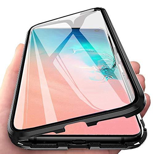 Caler Funda Compatible para iPhone 6/6s Carcasa Magnética Cubierta de 360 Grados Delantera y Trasera de Transparente Vidrio Templado Marco de Metal Protección Flip Case Cover(Negra Negro)