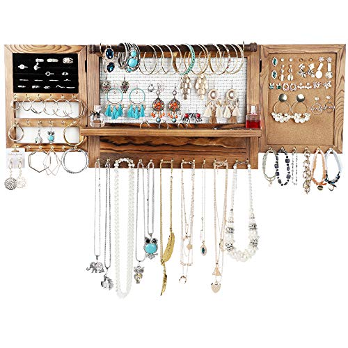 Allinside Large Hanging Wall Mounted Jewelry Organizer Rustic Wooden Jewelry Holder Rack with Removable Bracelet Rod for Necklaces Bracelets Earrings Studs Rings Keys
