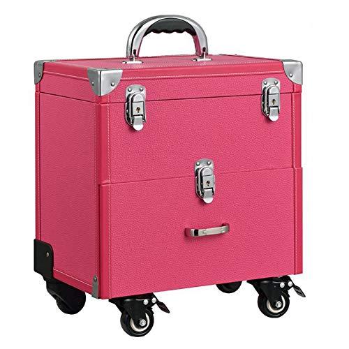 WANGXN Trucco Caso vanità con cassetti per Salone, Beauty Studio, Professionale Trucco Artista Nail Jewelry Box,Pink