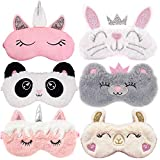Kids Sleep Mask ,Aniwon 6 Pack Cute Eye Mask for Sleeping Unicorn Soft Plush Blindfold Rabbit Panda Koala Covers Eye Mask for Women Girls Kids Favor