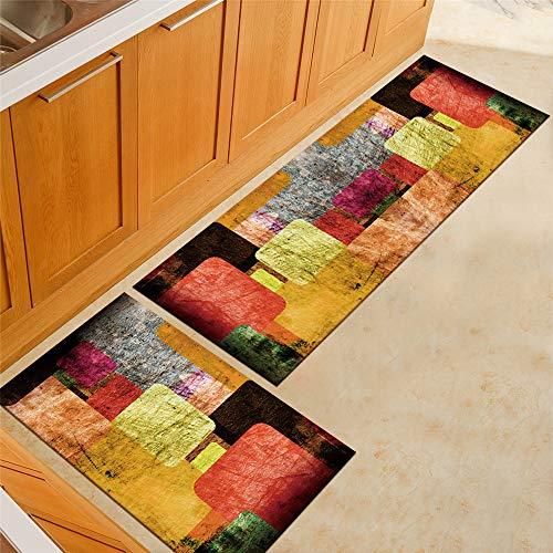 Tapis de Cuisine Imprimé Aquarelle Multicolore, Treer Antidérapant et Lavable en Machine Entrée Devant Evier Tapis de Sol Tapis pour Chambre à Coucher, Salon (Géométrie,40x120cm)