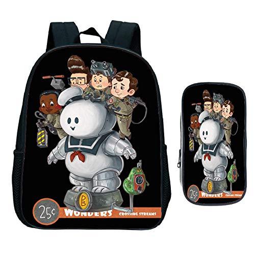 Ghostbusters Rucksack Kindergarten Taschen Schöne beliebte Kinder Kleinkind Kindergarten Geschenk (2 Stück Set/Rucksack+Stift Tasche) 2