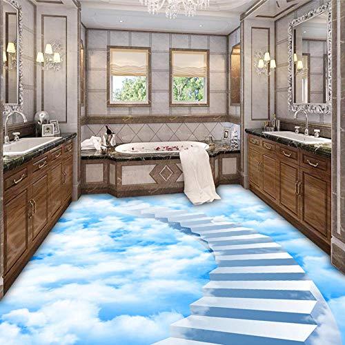 Papel pintado mural autoadhesivo personalizado 3D nubes creativas paso baldosas pintura pegatina baño dormitorio Papel De Parede-350 * 245cm
