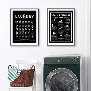 zsBig6 Symboles et détachage blanchisserie Signe Toile Art Affiches Imprime Noir Blanc Peinture buanderie décoration Mural...