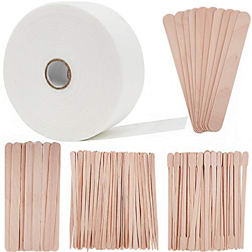 "BQTQ Wax Strips Applicator Sticks Kit Including 1 Roll Non-woven Wax Strip Hair Removal Waxing Strips and 120 Pcs Wooden Waxing Stick for Body Facial Nose Eyebrow Hair Removal, 2.75"" 55 Yards"