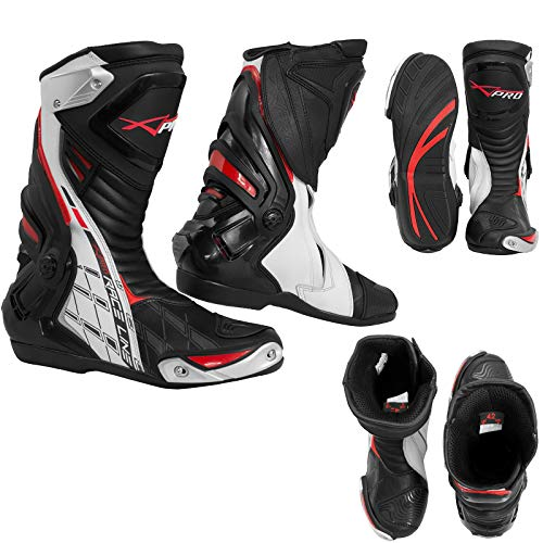 Stivali Omologati CE Moto Quad Motocross Touring Sport Tecnici (45 EU, Bianco)