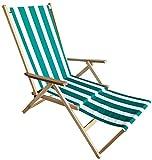 Sdraio mare in legno richiudibile con poggiapiedi reclinabile 2 posizioni(Righe Verde/Bianco)