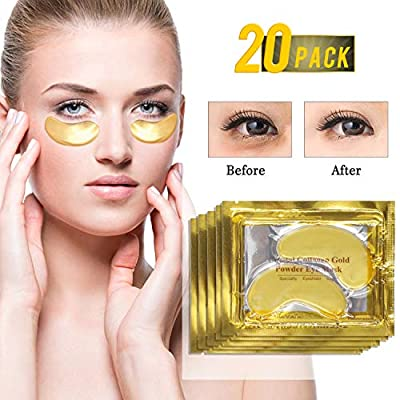 24K Gold Eye Treatment Mask Collagen Eye Mask Anti Age Under Eye Patches Anti Wrinkle Products with Hyaluronic Acid, Moisturiser for Under Eye Wrinkles, Eye Bag Removal (20pair) from Jiaxin-000