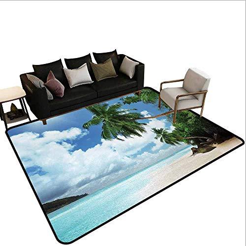 MsShe Transparant gedrukte deurmat Strand, Grote Klif in de Crystal Sea Water Tropic Island Landschap met Zomer Strand, Blauwe Crème Groen