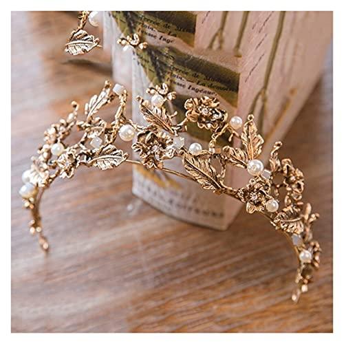 JJSCCMDZ Venda Vintage Oro Perla Hoja Nupcial Tiara Cristal Corona Hairband Headpiece...