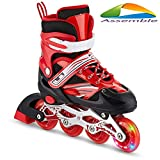 Assemble Inline Skates Size Adjustable All PU Wheels with Aluminum-Alloy, LED Flash Light
