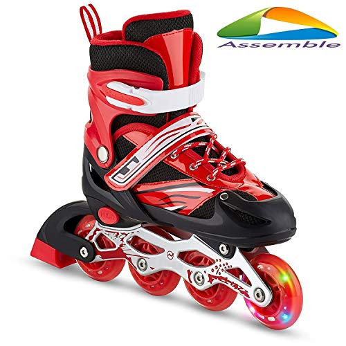 Assemble Inline Skates Size Adjustable All PU Wheels with Aluminum-Alloy, LED Flash Light, Age Group 6-14 Years (Red-Skate (Size-L))