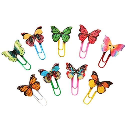 MoGist 50 TLG Metall Büroklammer Bunt Schmetterlings Form Design Büroklammern Passend für Grußkarten Post Kalender Notizbücher Postkarten