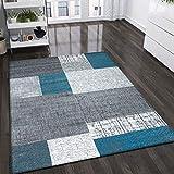 VIMODA Designer Moderner WohnzimmerTeppich in Türkis, Grau und Weiß mit Kachel Optik Kurzflor, Maße:200x290 cm