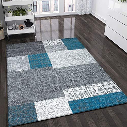 VIMODA Designer Moderner WohnzimmerTeppich in Türkis, Grau und Weiß mit Kachel Optik Kurzflor, Maße:80x150 cm