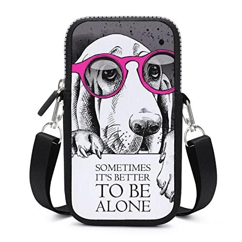 Perro de dibujos animados en gafas de sol SDASDW pequeño mensajero teléfono móvil bagmini hombro bolso cartera tarjeta caso, negro,, Talla Unica