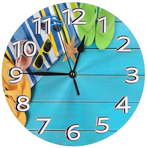 AZHOULIULIU Co.,ltd Gafas Zapatillas Starwood Reloj de Pared Reloj de plástico Durable Reloj de Cuarzo Redondo Reloj Circular de impresión Digital