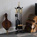 Fire Vida Buxton Companion Set, Metal, Black/Brass, 5-Piece