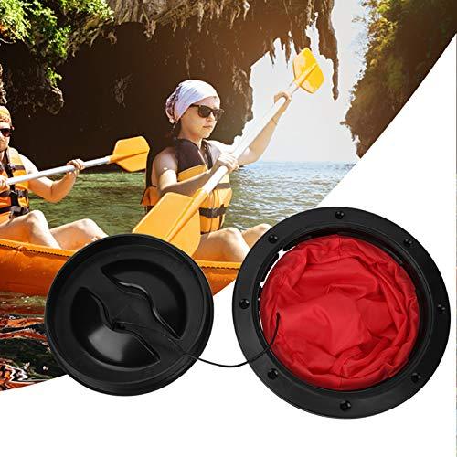 Kit de placa de cubierta - Cubierta de escotilla de sellado de barco con bolsa de almacenamiento roja para kayak Barco aparejo de pesca Kit de cubierta de compartimento de canoa redonda(6 pulgadas)