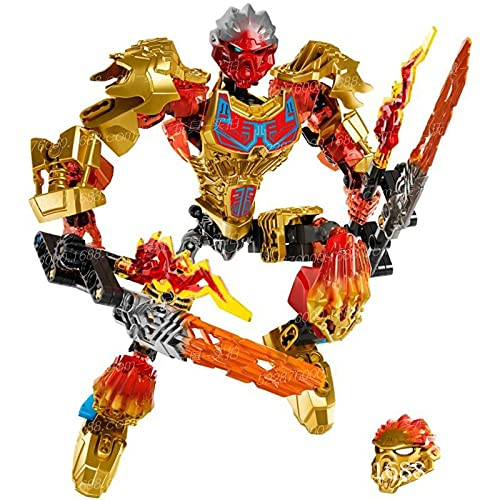 JKYP 132 Pieces Biochemical Warrior Building Block Toys Bioniclemask of Light Bionicle Tahu Fire Building Block Compatible Bionicle Bionicle Ekimu Figure Toys Gift