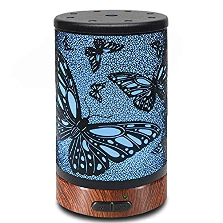 Ultrasonic Aromatherapy Cool Mist Aroma Essential Oil Diffuser, Whisper Quiet Humidifier with Diffuse Auto Shut-Off Protection and 7-Color Changed LED for Home Office Yoga SPA 100ml