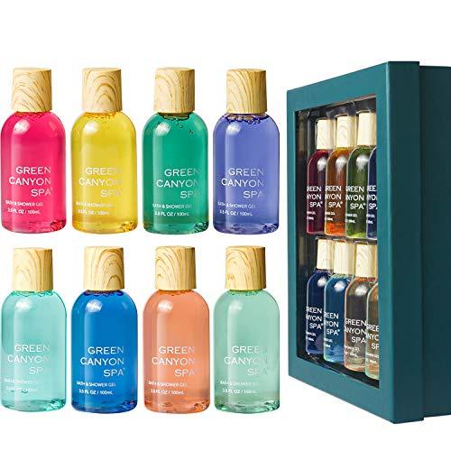 Coffret de bain, Green Canyon Spa 8PCS Gel Bain et Douche, Coffret Cadeaux pour Femmes et Hommes, 8 * 100ml Parfums Différents pour Tous Types de Peau