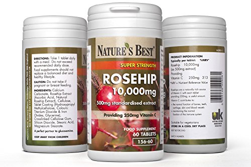 Rosehip 10,000mg | Natural Source Extract with 250mg Vitamin C for Normal Collagen Formation | One of The UK's Strongest and Fresher for Being UK-Made