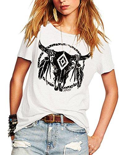 Romastory Womens Street Pattern Novelty TShirt Short Sleeve Loose Summer Tops Tee Shirts M White