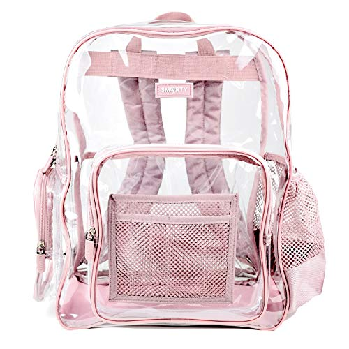Large Clear Backpack Heavy Duty Durable Military Nylon Clear Bookbags Transparent See Through Plastic School Work Bag - Fits like Extra Large (Pink)